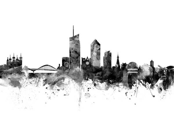 Wall Art - Digital Art - Lyon France Skyline by Michael Tompsett