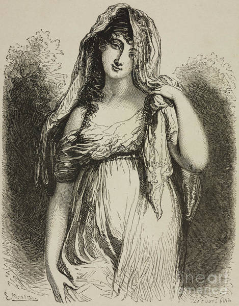 Attractive Drawing - Madame Recamier by French School