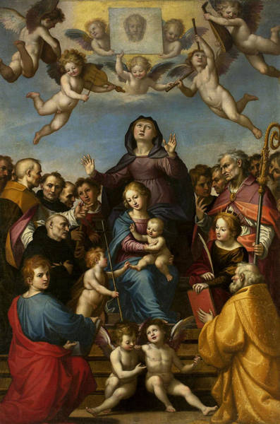 Saint Anne Painting - Madonna And Child With Saint Anne And The Patron Saints Of Florence by Fra Bartolomeo