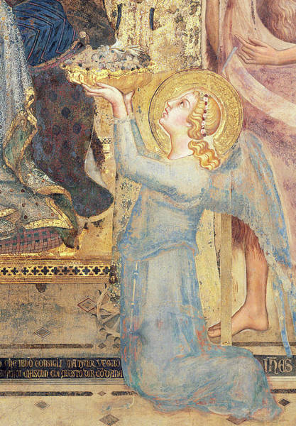 Tribute Painting - Maesta  Angel Offering Flowers To The Virgin by Simone Martini