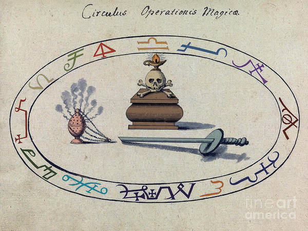 Wall Art - Photograph - Magic Circle, Cabbalistic Symbols by Science Source