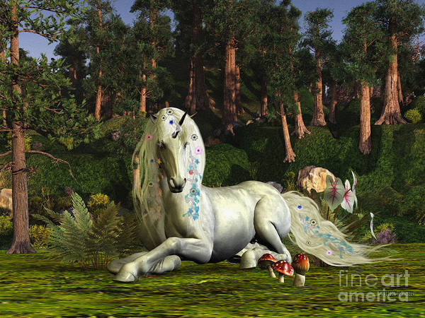 Unicorn Horn Digital Art - Magic Woodland by Corey Ford
