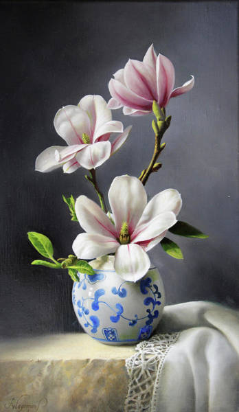 Vase Painting - Magnolia by Pieter Wagemans