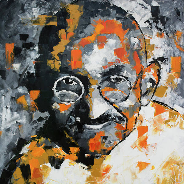 Abstract People Painting - Mahatma Gandhi by Richard Day