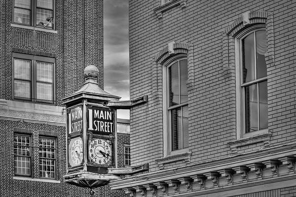 Photograph - 1 Main Street Clock Bw by Susan Candelario