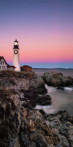 Photograph - Maine Portland Headlight Lighthouse At Sunset Panorama by Ranjay Mitra
