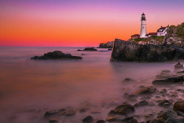 Art Print featuring the photograph Maine Portland Headlight Lighthouse At Sunset by Ranjay Mitra