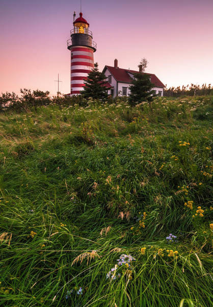 Photograph - Maine West Quoddy Head Lighthouse Sunset by Ranjay Mitra