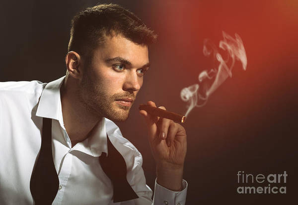 Cigar Photograph - Male Model Smoking Cigar by Amanda Elwell
