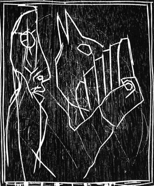 Relief - Man Holding A Bird by Artist Dot