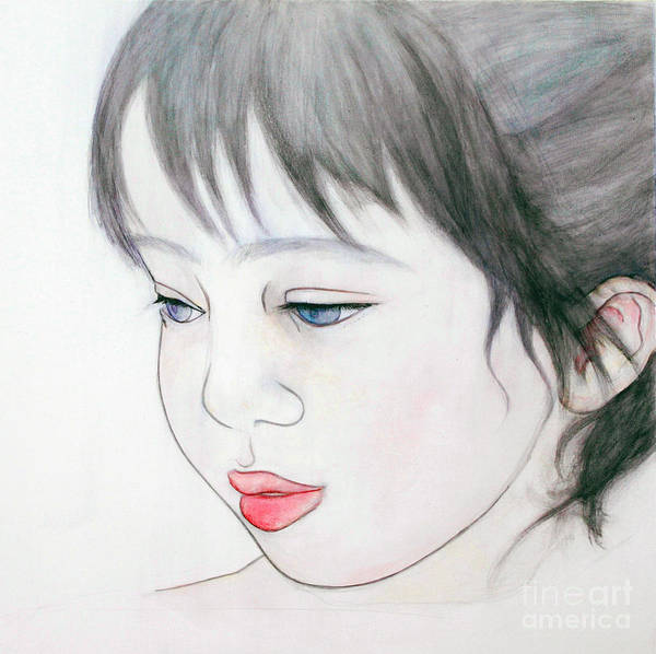 Painting - Manazashi Or Gazing Eyes by Fumiyo Yoshikawa