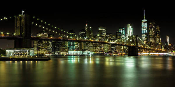 Wall Art - Photograph - Manhattan Skyline And Brooklyn Bridge Nightly Impressions - Panoramic by Melanie Viola