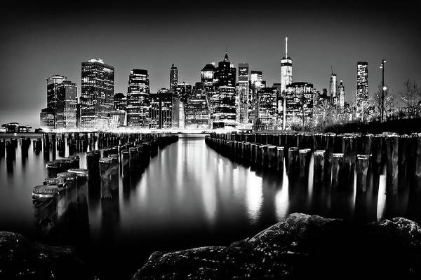 Photograph - Manhattan Skyline At Night by Az Jackson