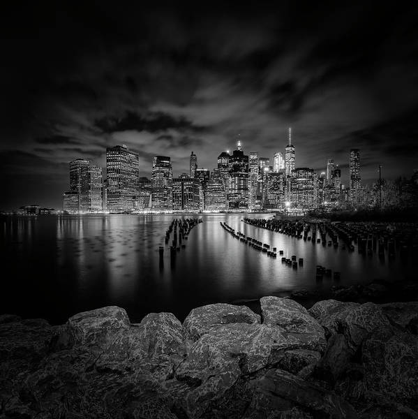Wall Art - Photograph - Manhattan Skyline Evening Atmosphere In New York City - Monochrome by Melanie Viola