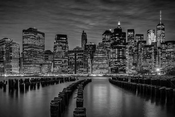 Wall Art - Photograph - Manhattan Skyline Evening Atmosphere - Monochrome by Melanie Viola