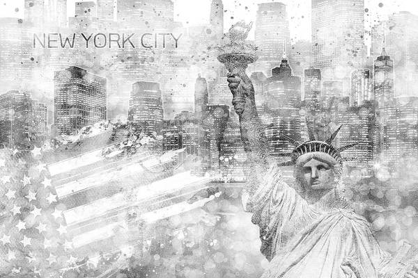 Wall Art - Digital Art - Manhattan Skyline - Graphic Art - White by Melanie Viola