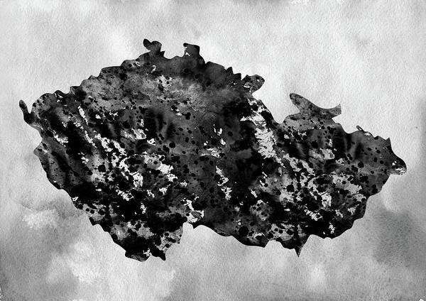 Czech Digital Art - Map Of Czech Republic-black by Erzebet S