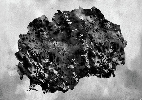 Macedonia Digital Art - Map Of Macedonia-black by Erzebet S