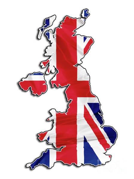 Digital Art - Map Of United Kingdom Flag by Benny Marty
