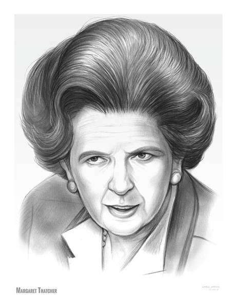 Pencil Drawing - Margaret Thatcher by Greg Joens