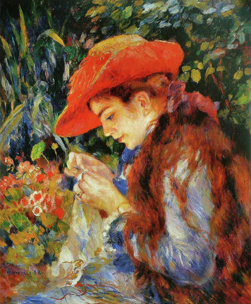 Sewer Painting - Marie-therese Durand-ruel Sewing by Pierre-Auguste Renoir