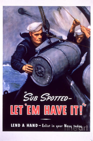 Recruitment Painting - Marine Corps Recruiting Poster From World War II by Celestial Images