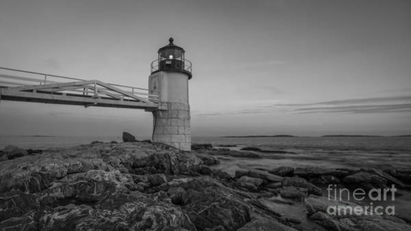 Marshall Point Lighthouse Photograph - Marshall Point Lighthouse Sunset Bw by Michael Ver Sprill