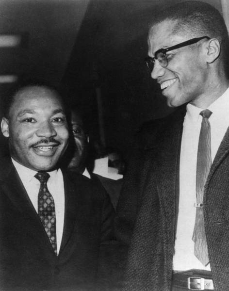Candid Photograph - Martin Luther King Jr., And Malcolm X by Everett