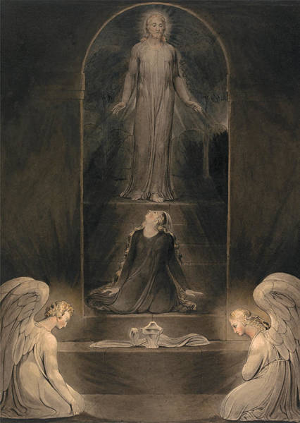 William Blake Drawing - Mary Magdalen At The Sepulchre by William Blake