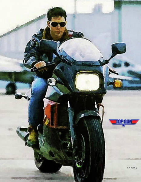 Mavericks Mixed Media - Maverick, Top Gun, Kawasaki Ninja 900, Tom Cruise by Thomas Pollart