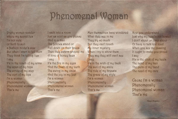 Quotation Photograph - Maya Angelou - Phenomenal Woman  by Maria Angelica Maira