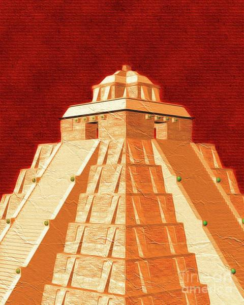 Wall Art - Painting - Mayan Pyramid by Pierre Blanchard