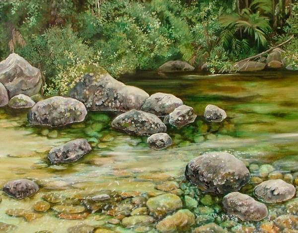 Painting - Meandering Stream by Val Stokes
