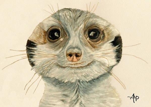 Painting - Meerkat Watercolor by Angeles M Pomata