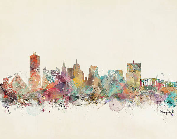 Tennessee Wall Art - Painting - Memphis City Skyline by Bri Buckley