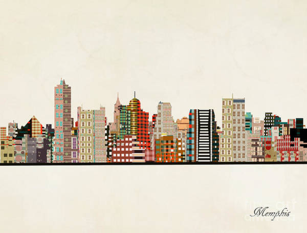 Wall Art - Painting - Memphis Skyline by Bri Buckley