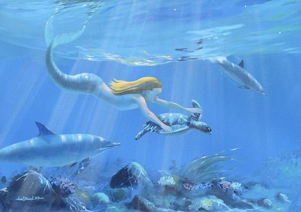 Painting - Mermaid Fantasy by Janet Biondi