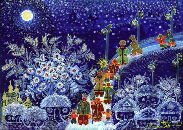 Unexpected Painting - Merry Christmas by Marfa Tymchenko