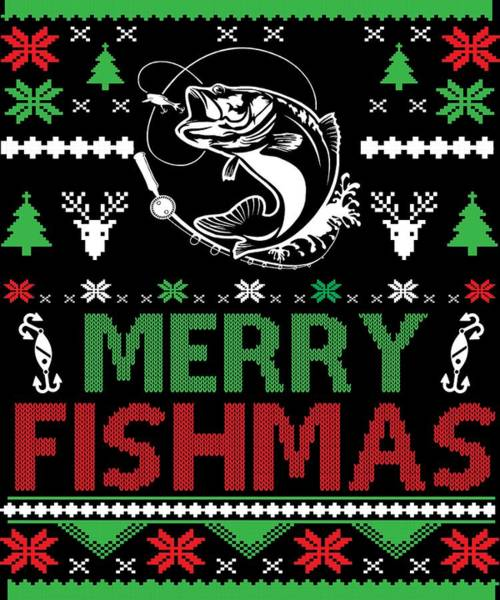 Ugly Digital Art - Merry Fishmas Ugly Christmas Fishing Apparel by Michael S