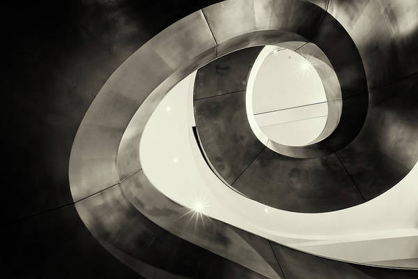 Photograph - Abstract Metal Spiral Staircase by John Williams