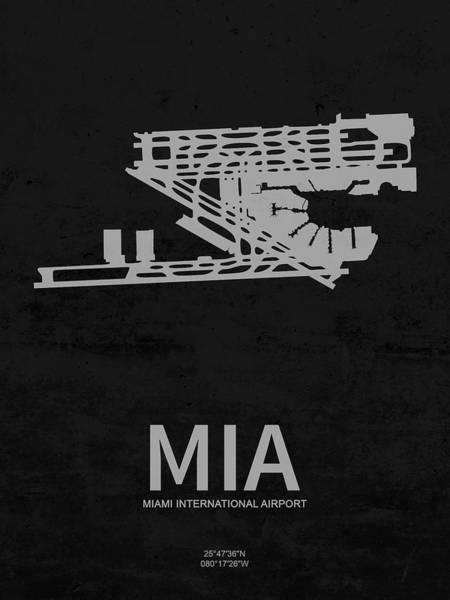 Miami-dade Digital Art - Mia Miami International Airport In Miami Florida Usa Runway Silh by Jurq Studio