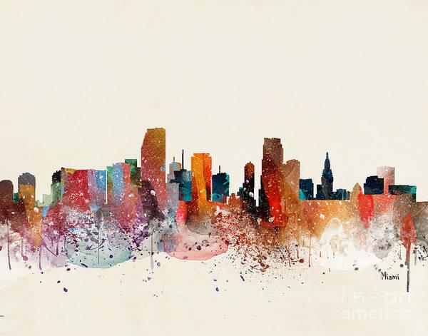 Wall Art - Painting - Miami Skyline by Bri Buckley