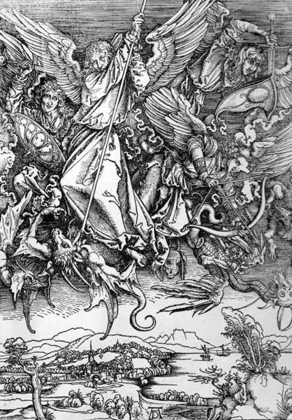 Drawing - Michael Defeats Satan by Troy Caperton