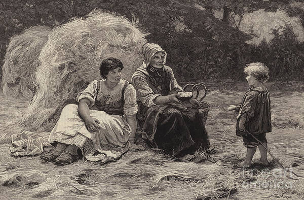 Nostalgia Drawing - Midday Rest by Frederick Morgan