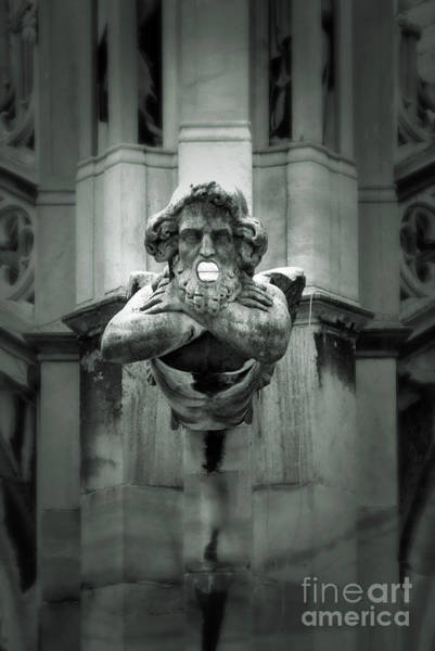 Photograph - Milan Italy Cathedral Gargoyle In Black And White by Gregory Dyer