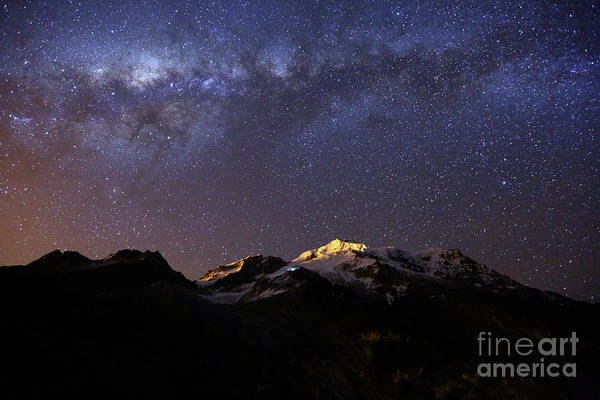 Photograph - Milky Way Above Mt Huayna Potosi Bolivia by James Brunker