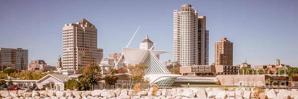Milwaukee Art Museum Photograph - Milwaukee Skyline Panorama Photo by Paul Velgos