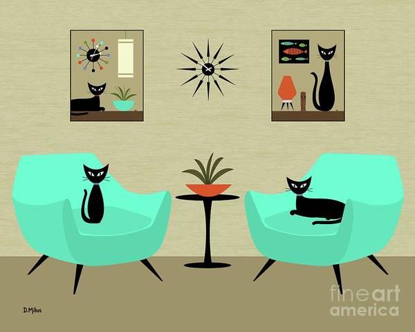 Digital Art - Mini Tabletop Cats by Donna Mibus