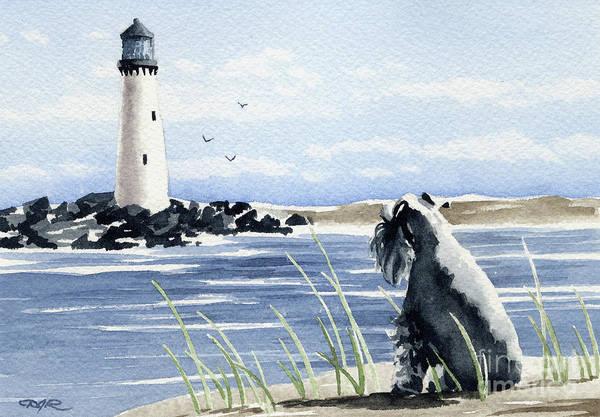 Schnauzer Wall Art - Painting - Miniature Schnauzer At The Beach by David Rogers