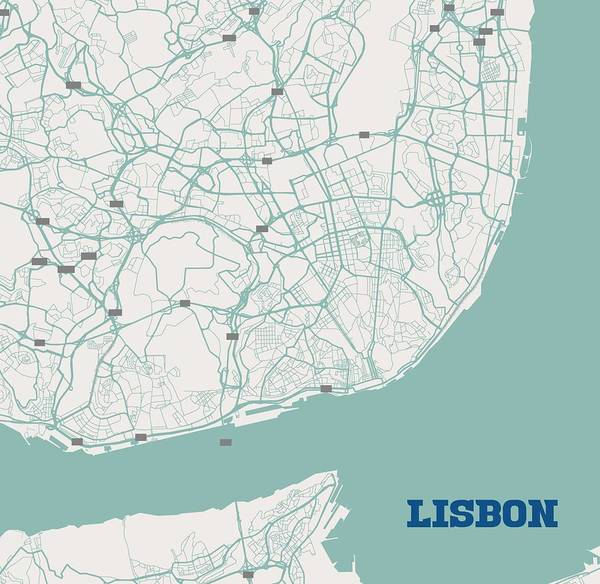 Painting - Minimalist Artistic Map Of Lisbon, Portugal 3a by Celestial Images